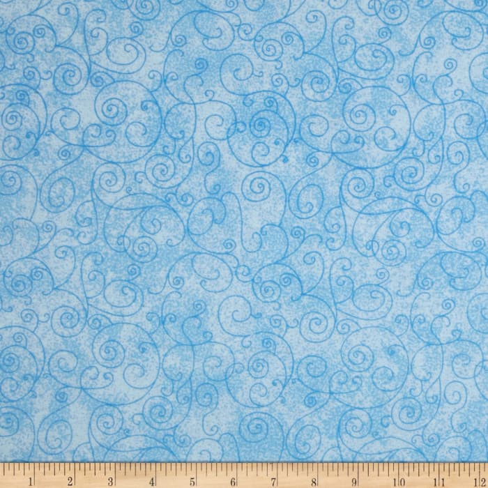 """110"""" Wide Flannel Quilt Back Willow Light Blue"""
