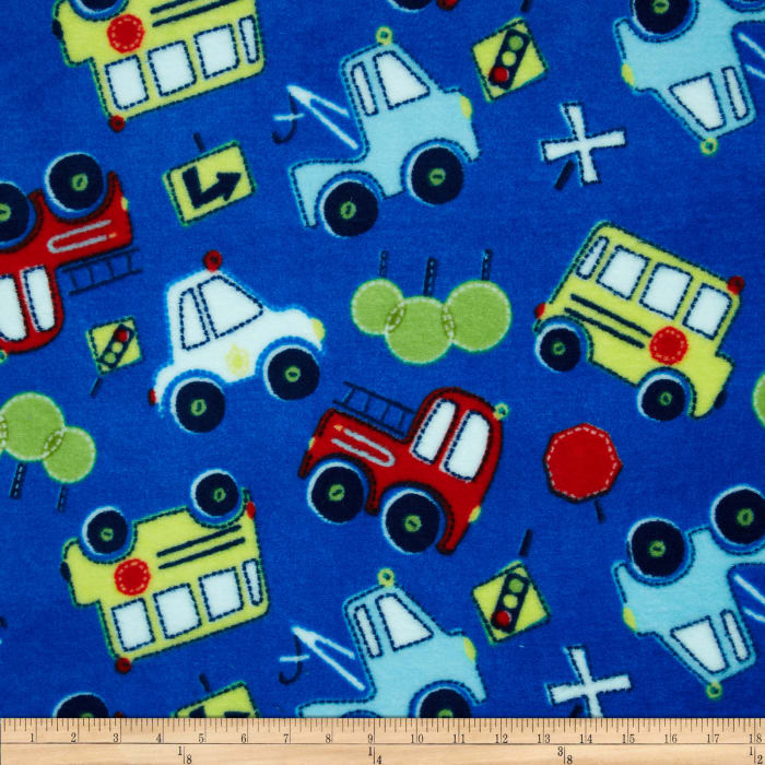 Fleece Tossed Cars Blue