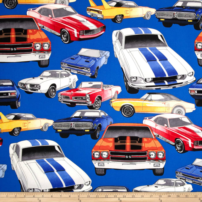 Nicole's Prints Pure Muscle Cars Royal