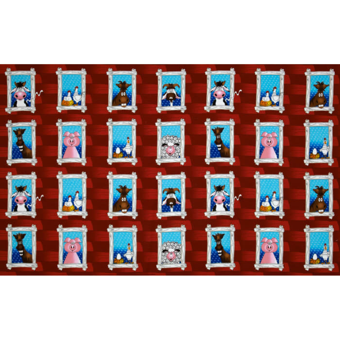 The Farm at Whistle Pig Creek Flannel Animal Windows Red