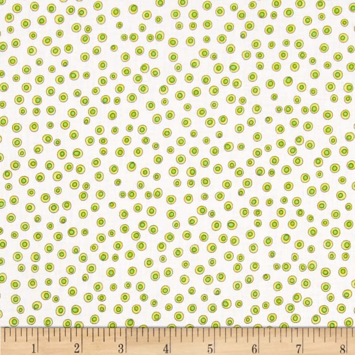 Quilting Treasures Monster Mash Dots White/Green