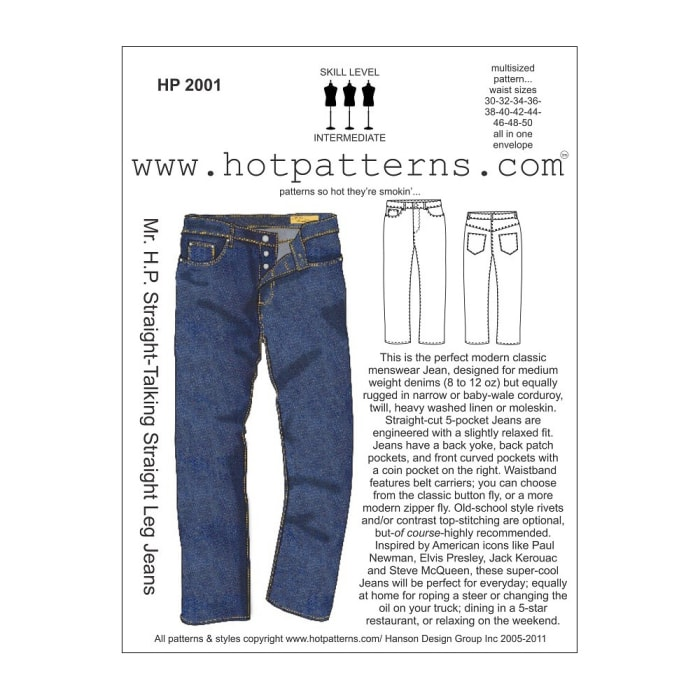 Hot Patterns Mr. H.P. Straight-Talking Straight Leg Jeans Pattern