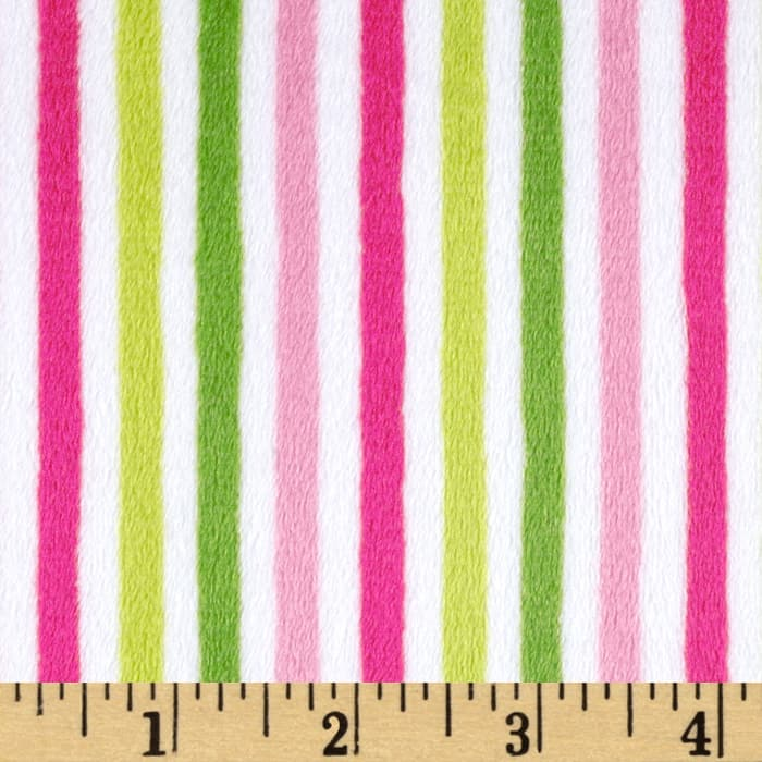 Shannon Minky Cuddle Classic Ministripe Hot Pink/Jade