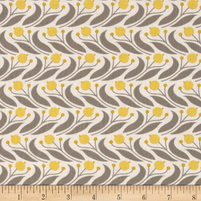 Cloud 9 Grey Abbey Organic Swaying Floral Mustard