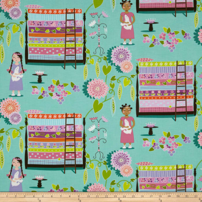 Michael Miller Quiet Time Princess & The Pea Robins Egg