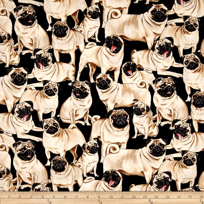Timeless Treasures Pugs Multi