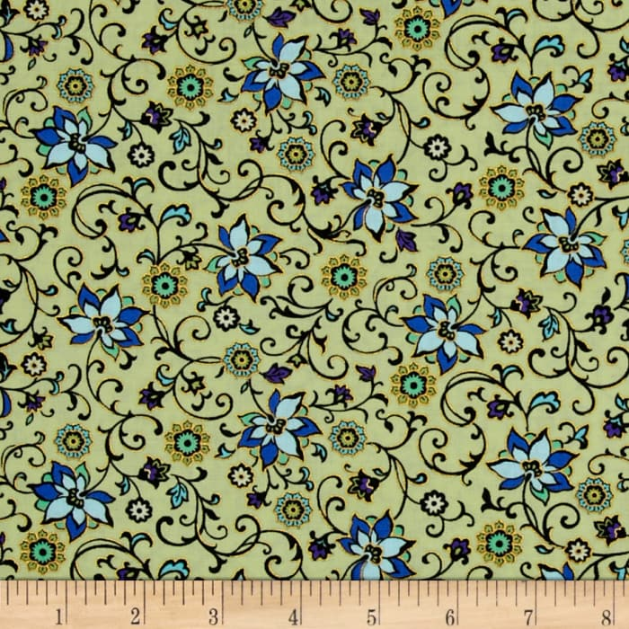 Imperial Gardens Metallic Imperial Floral Trail Willow/Blue
