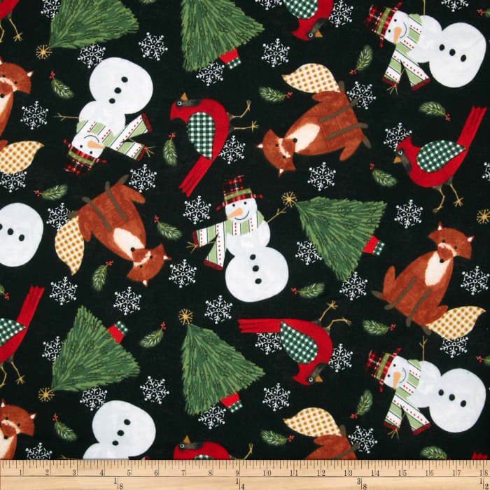 Timeless Treasures Christmas Flannels Taylor Character Toss Black