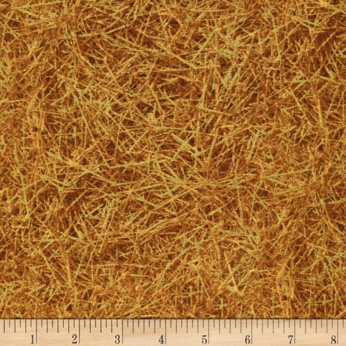 Timeless Treasures Gather Together Metallic Harvest Wheat Gold