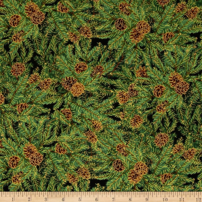 Timeless Treasures Comfort & Joy Metallic Pine Cone Green