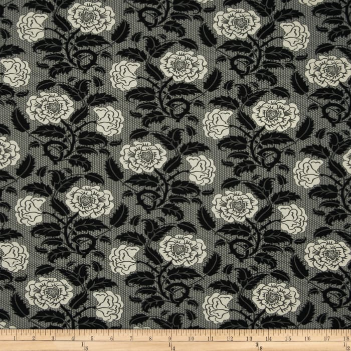 Liberty Of London Carnaby Jersey Knit Rosies Garden Grey/Black