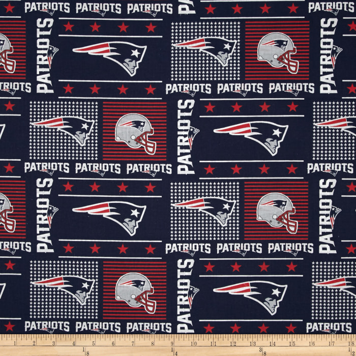 NFL Wide Cotton Broadcloth New England Patriots Patchwork