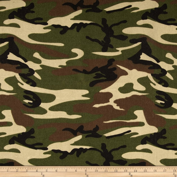 9 oz. Canvas Camouflage Woodland Green