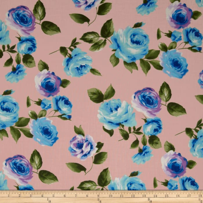 Designer Cotton Voile Roses Blue/Blush