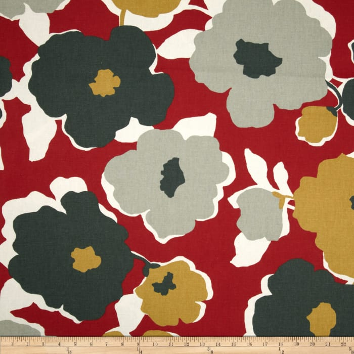 Robert Allen @ Home Top Floral Red Lacquer