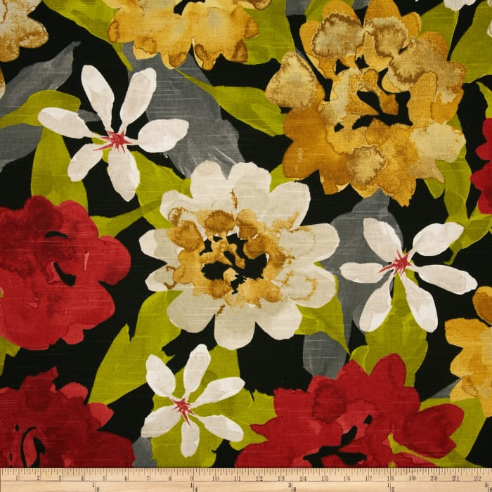 Robert Allen @ Home Lush Floral Slub Red