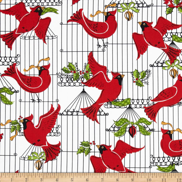 Michael Miller Holiday Birds Hollyberry
