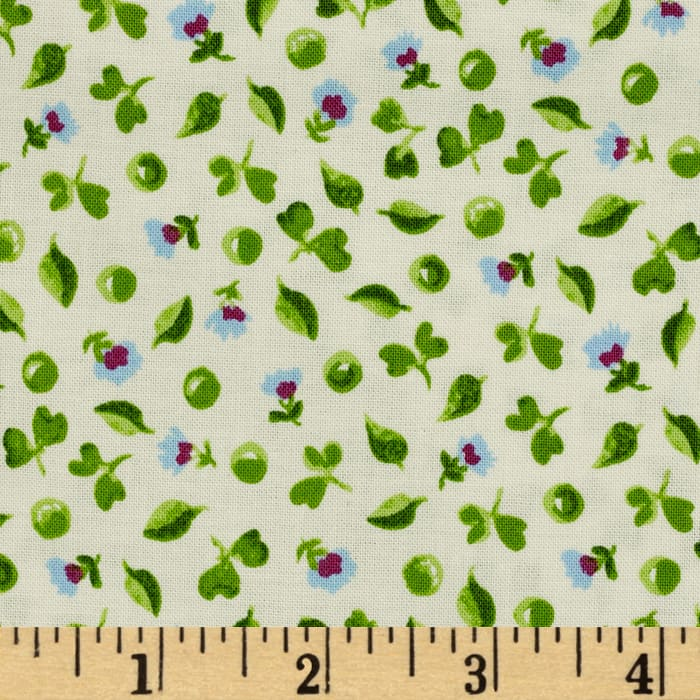Tossed Ditsy Flowers White/Green