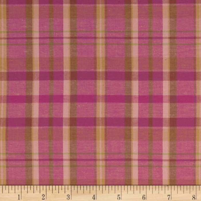 Yarn Dyed Cotton Shirting Plaid Pink/Olive