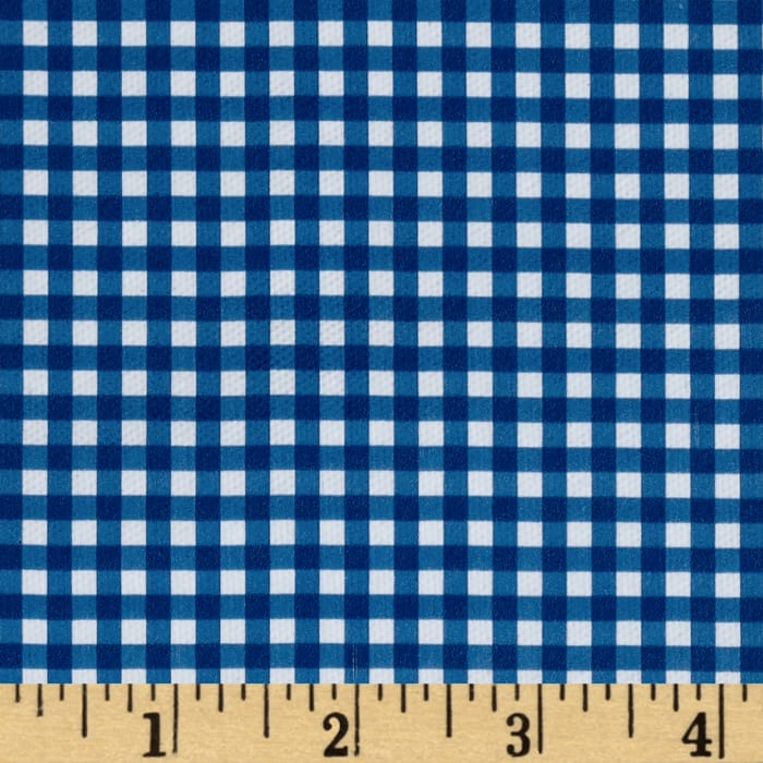 Fleece Backed Tablecloth Gingham Blue