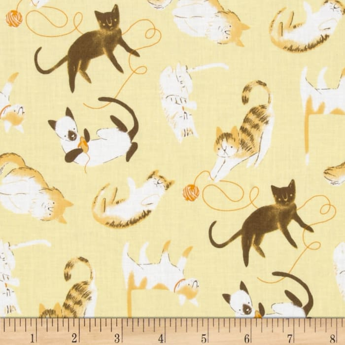 Here Kitty Kitty Organic Tossed Cats With Twine Gold