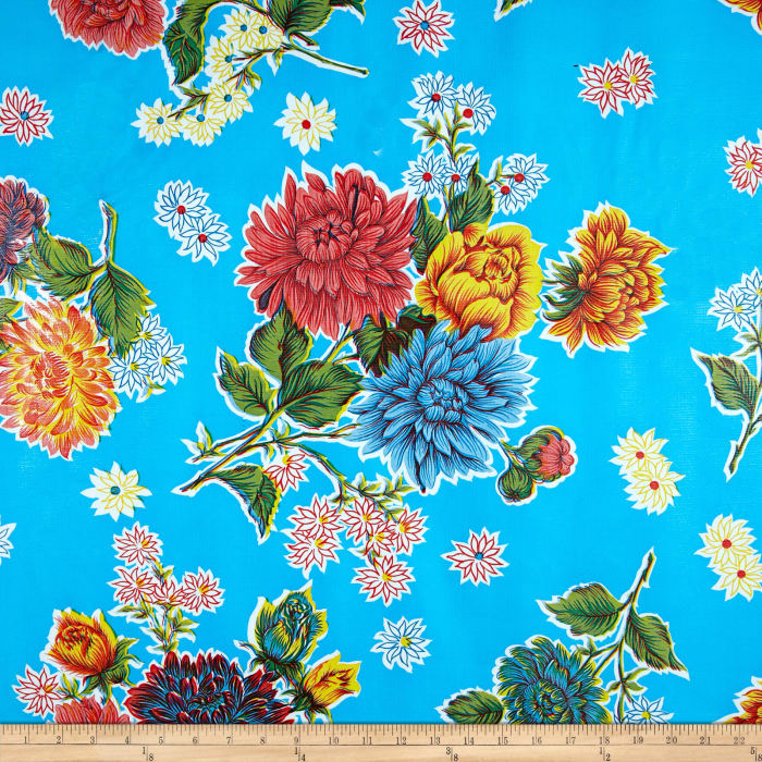 Oilcloth Mums Light Blue