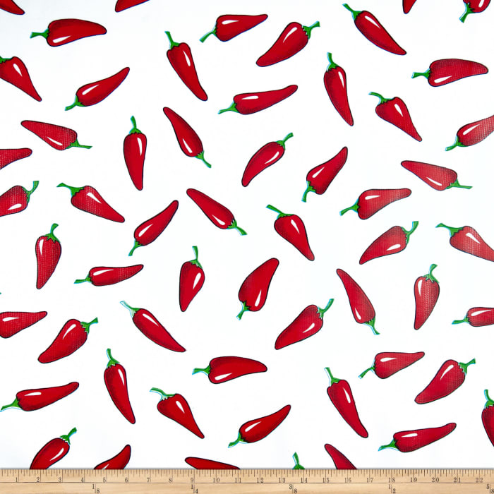 Oilcloth Chiles Red on White