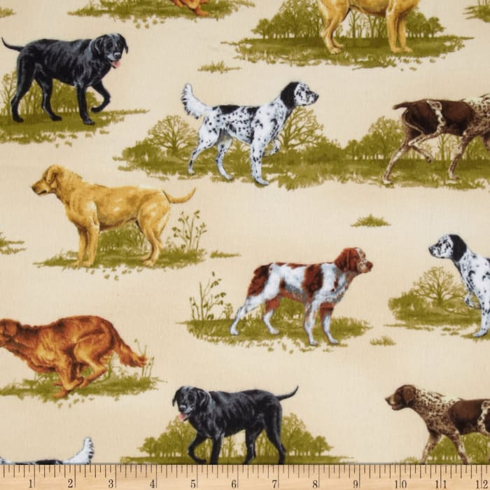 Nature Studies Flannel Hunting Dogs Cream