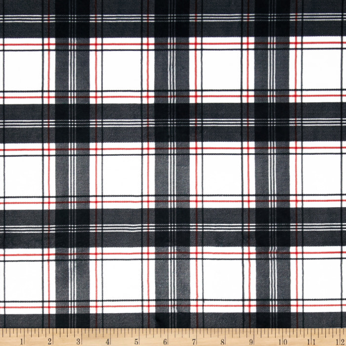 Minky New Plaid Black/White/Red