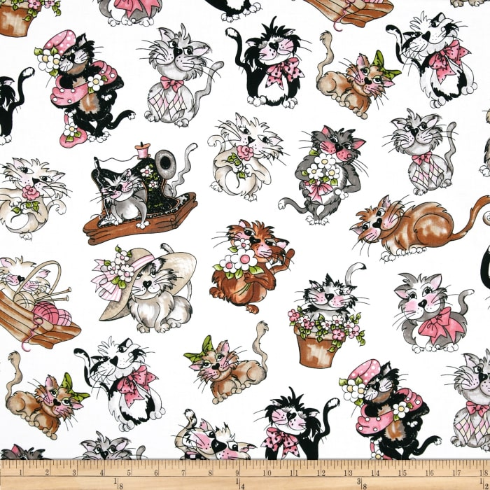 Loralie Fancy Cats Tossed White