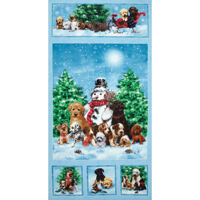 Holiday Pups Panel Blue