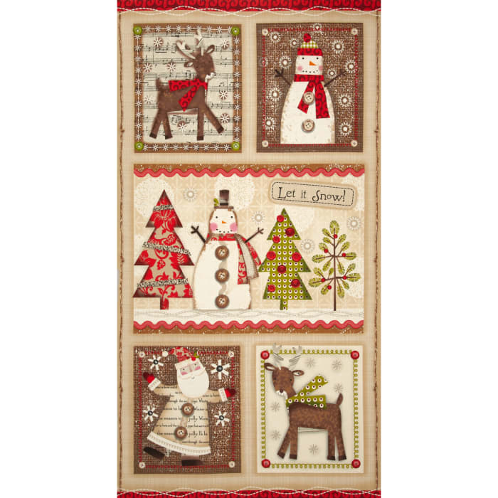 "Holiday Stitches 24"" Panel Beige"