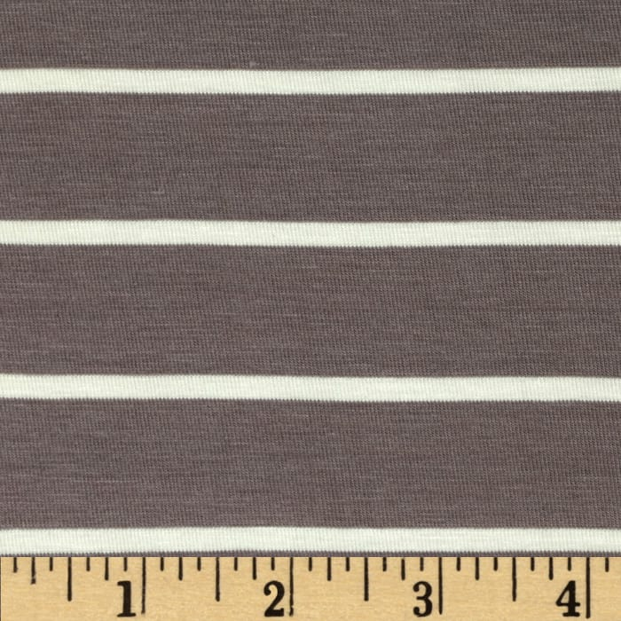 Stretch Bamboo Rayon Jersey Knit Mariner Stripe Grey/Ivory