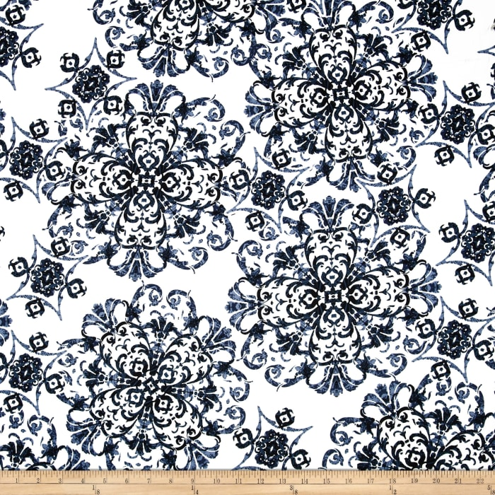Bloom Stretch Cotton Sateen Flourish White/Blue