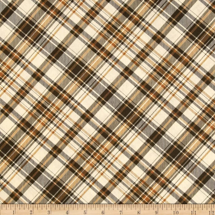 Postcards From the Lodge Diagonal Plaid Tan/Brown