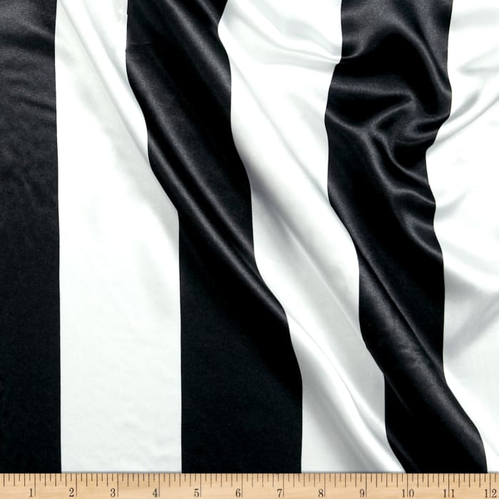 Charmeuse Satin 3.5 Stripe White/Black