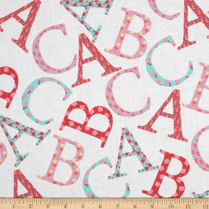 Michael Miller Cynthia Rowley Oh Baby ABC Toss Pink