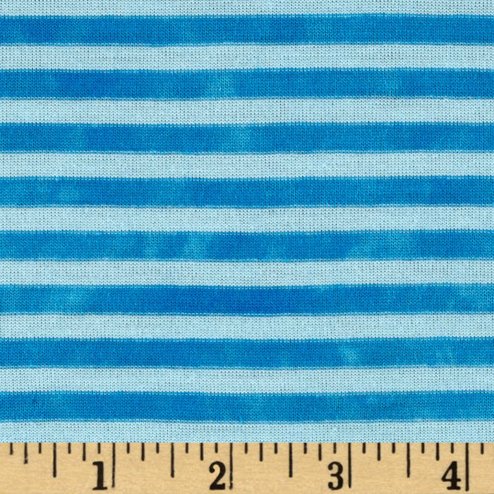 Jersey Knit Small Stripe Optic White/Turquoise