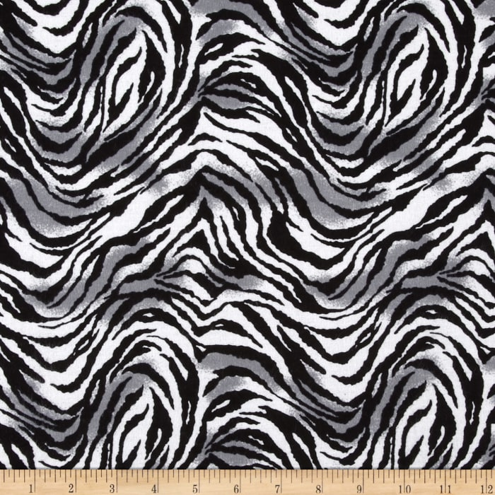 Gray Black White And Gold Bedroom: Tiger Print Flannel Black/White/Gray