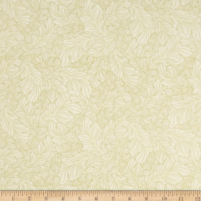 Timeless Treasures Dynasty Metallic Stylized Feather Cream