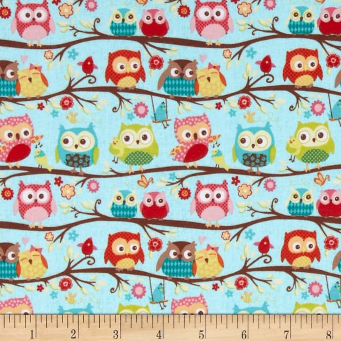 Riley Blake Cotton Jersey Knit Happy Flappers Owl Blue