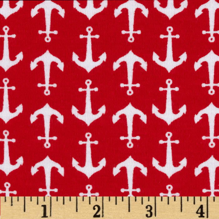 Riley Blake Cotton Jersey Knit Holiday Anchors Red