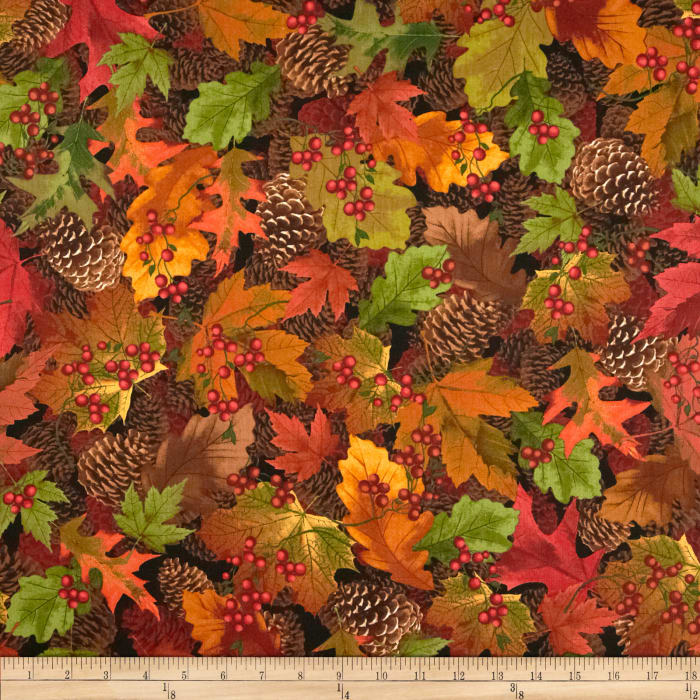 Timeless Treasures Cabin Packed Leaves Autumn