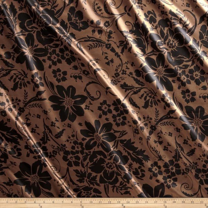 Charmeuse Satin Joy Flowers Brown/Black