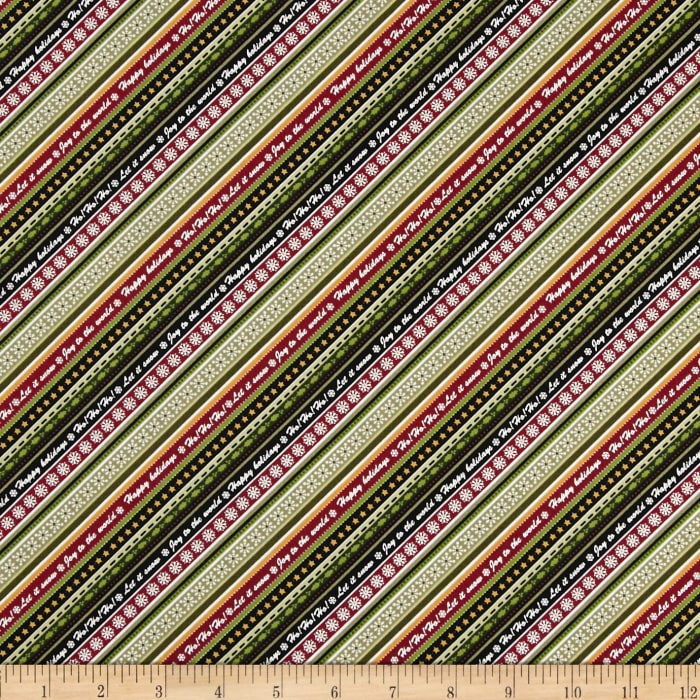 Winter Wishes Diagonal Winter Words Stripe Taupe/Red