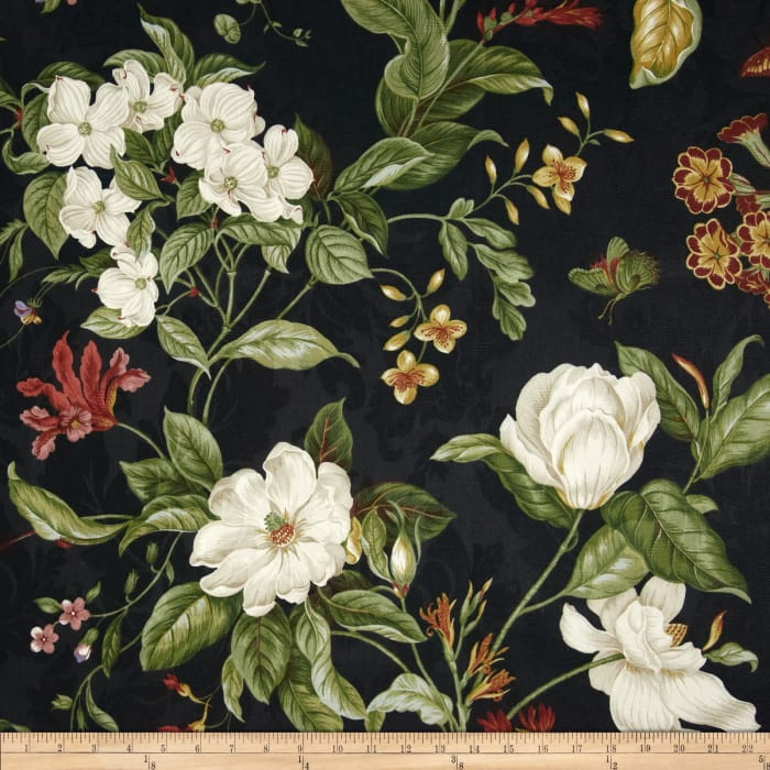 Waverly Garden Images Black Discount Designer Fabric