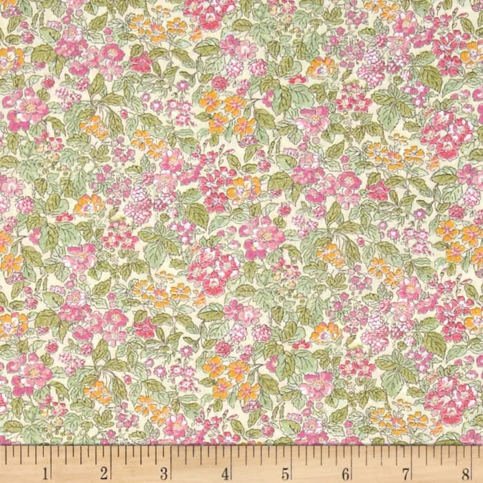 Liberty Fabrics Tana Lawn Prince George Green/Pink/Orange