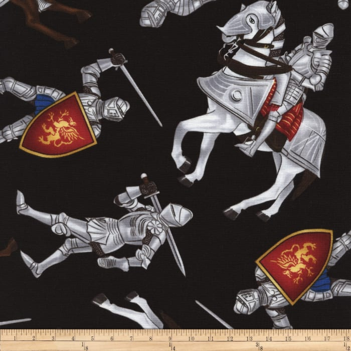 Timeless Treasures Medieval Times Knights Black