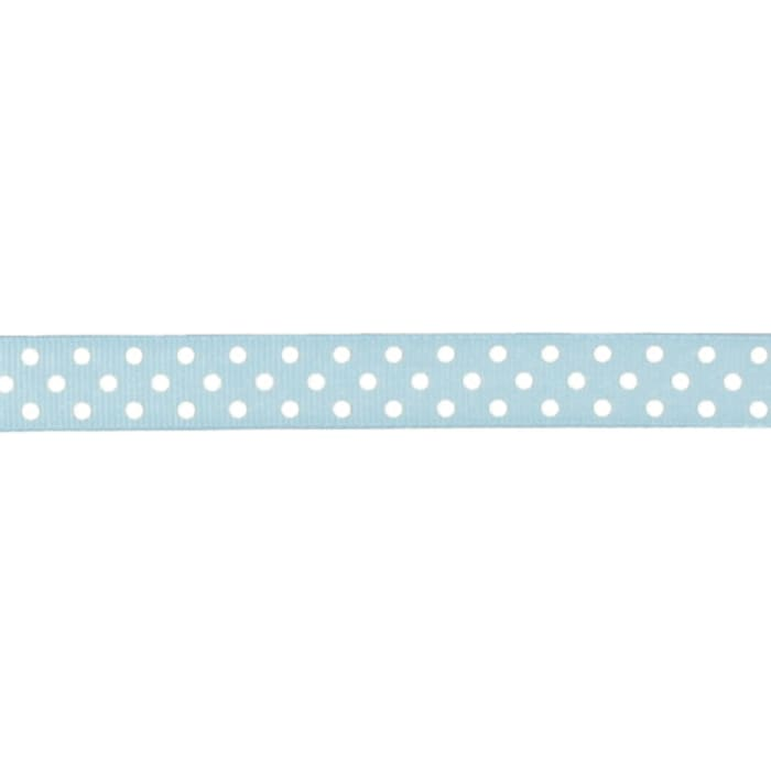 "May Arts 5/8"" Grosgrain Dots Ribbon Spool Light Blue/White"