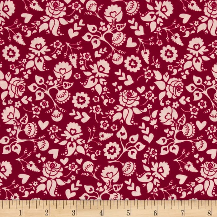 Riley Blake Lost and Found Love Floral Red